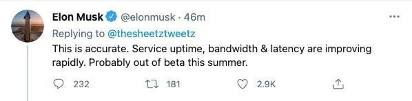 马斯克星链服务可能将在今年夏季结束Beta测试
